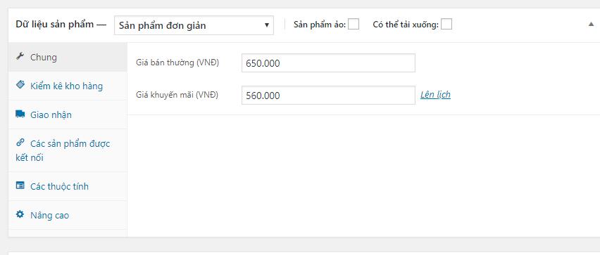 Cấu hình giá bán sản phẩm trên website