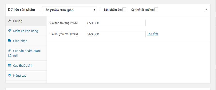 Mục khung sản phẩm trong website wordpress