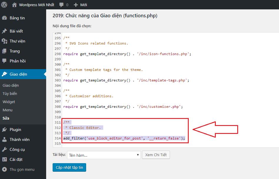 Chèn mã code thay đổi giao diện bài viết wordpress