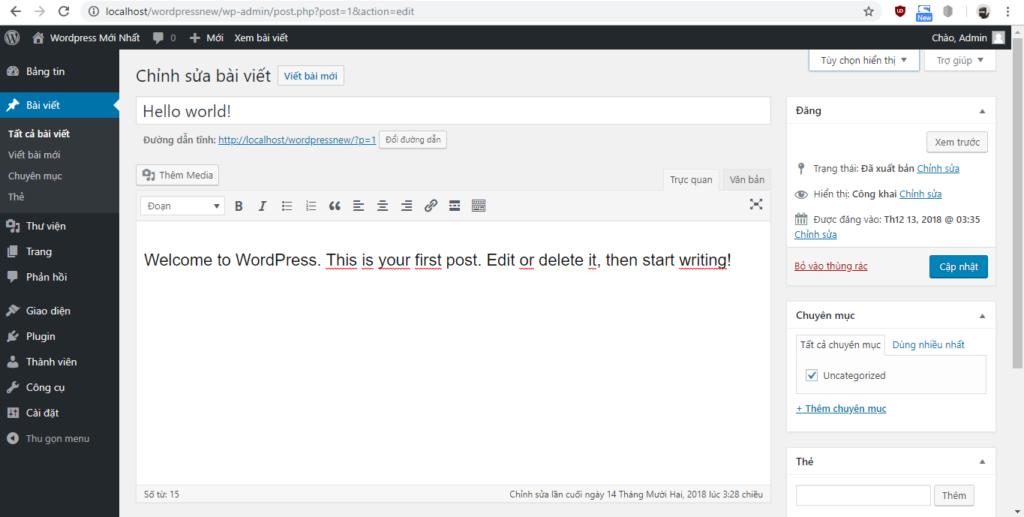 Giao diện bài viết wordpress cũ