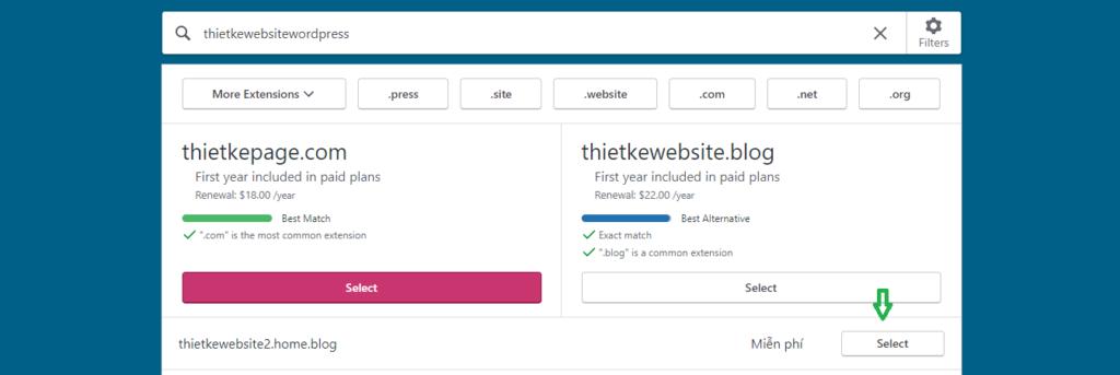 Lựa chọn tên miền miễn phí cho wordpress