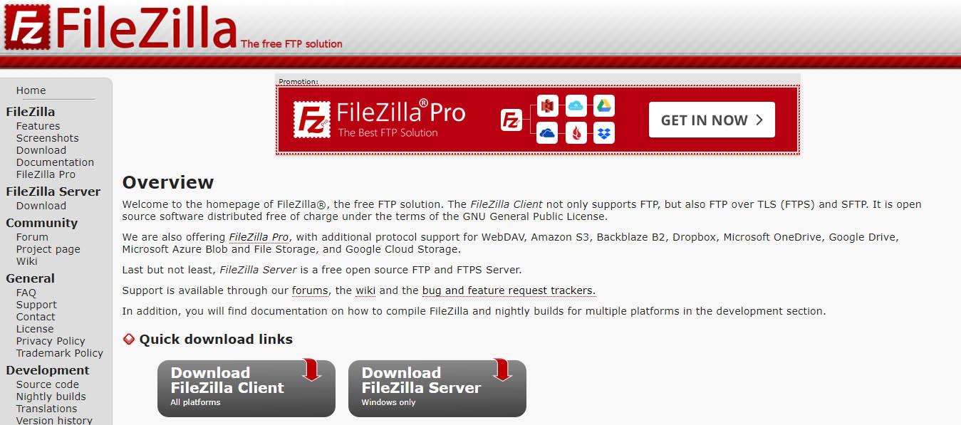 Lịch sử phần mềm Filezilla