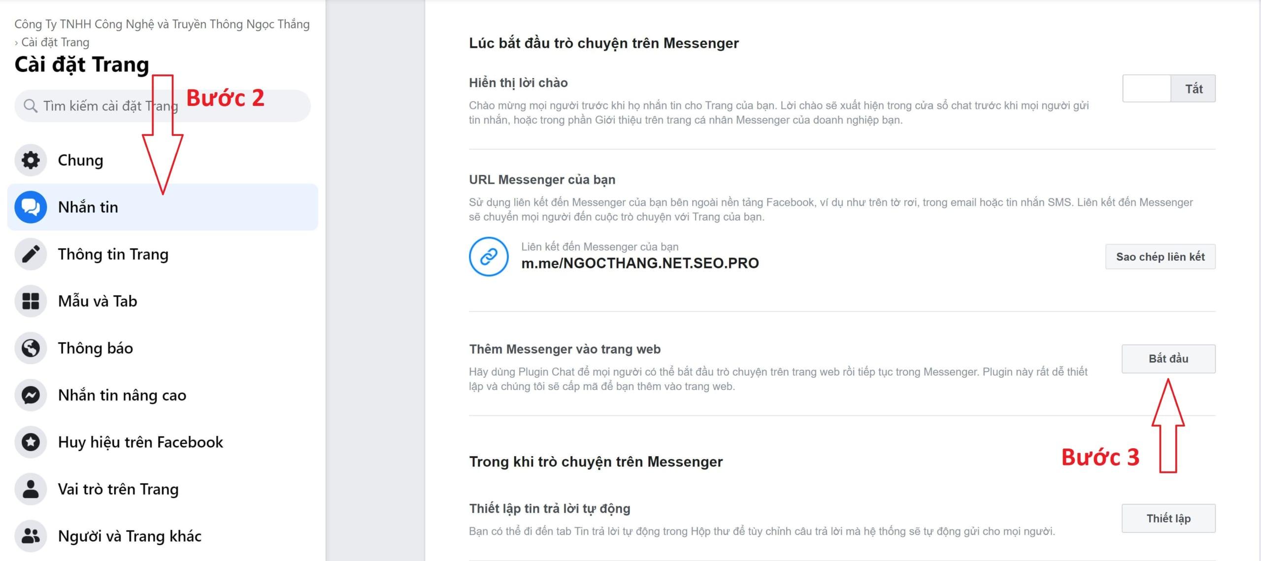 Thêm Messenger vào trang web