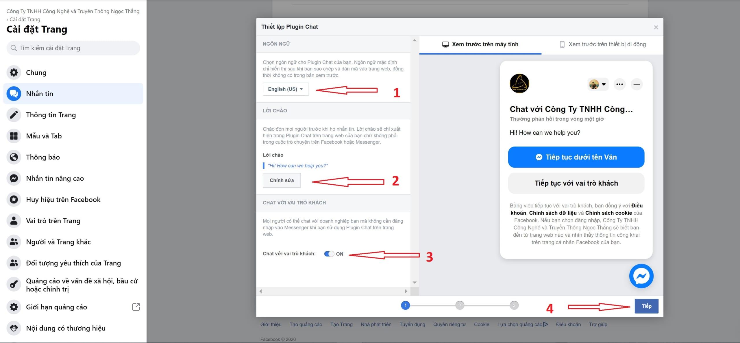 Thiết lập plugin chat