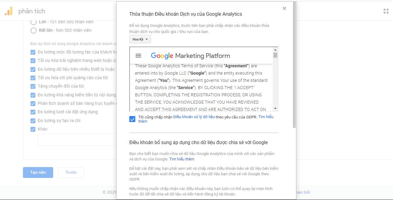 Chấp nhận thỏa thuận với Google Analytics