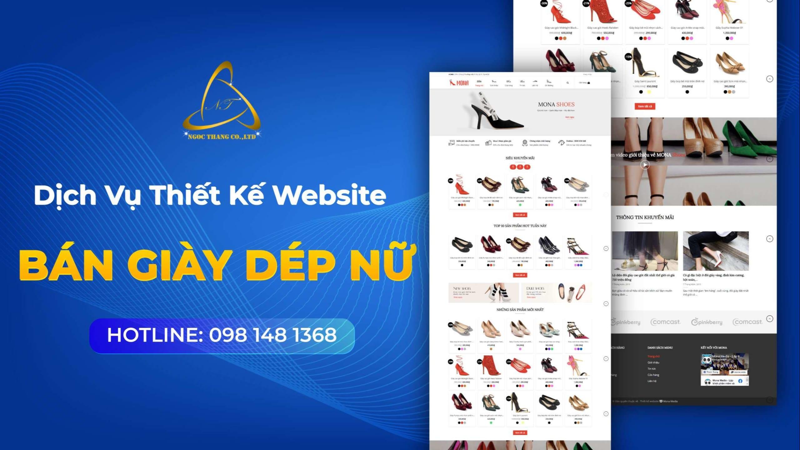 thiết kế website bán giày dép nữ