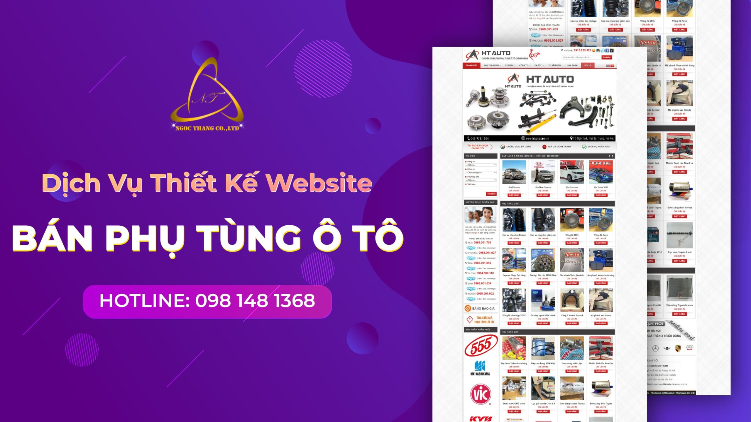 thiết kế website bán phụ tùng ô tô