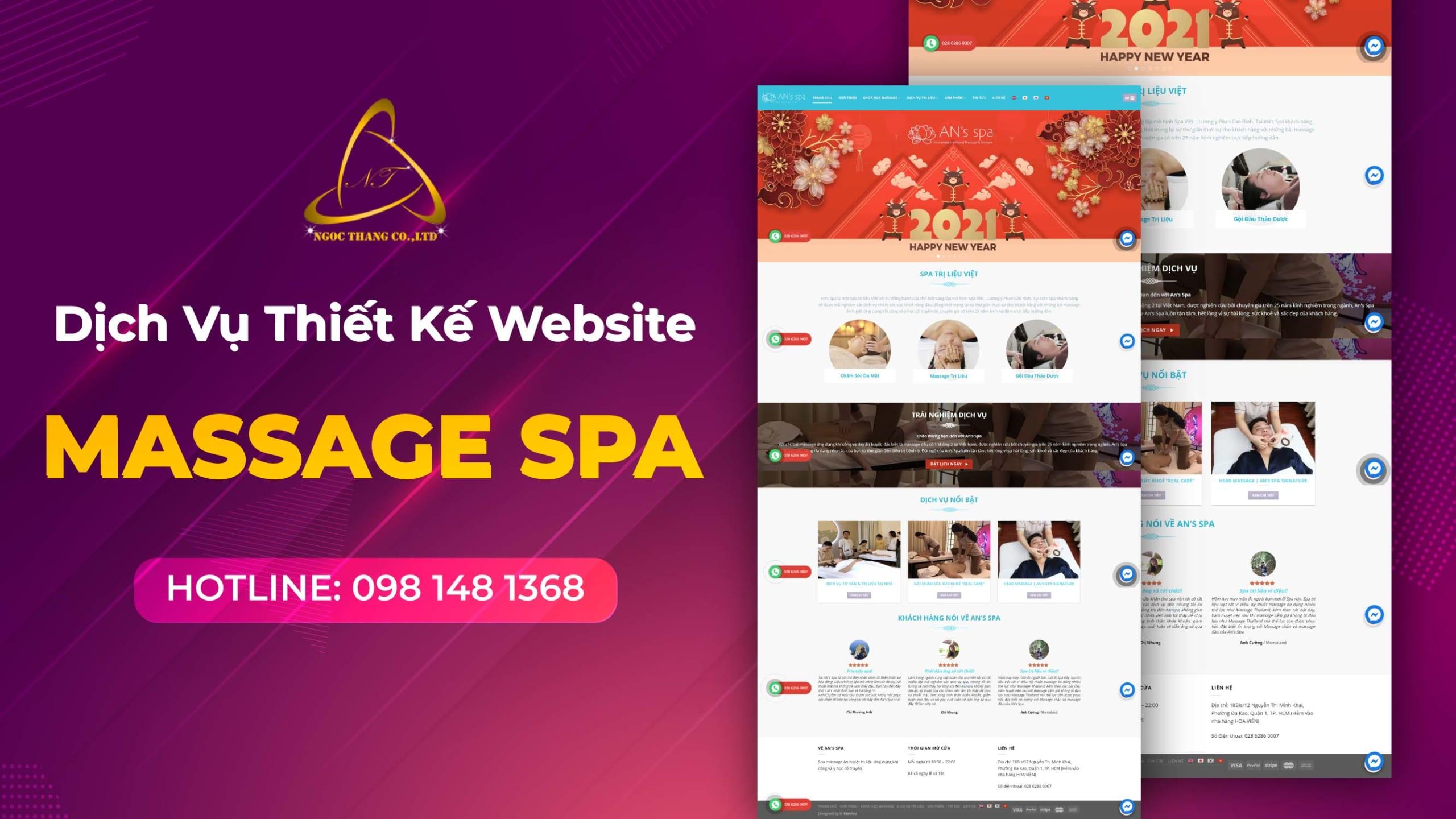 thiết kế website massage spa