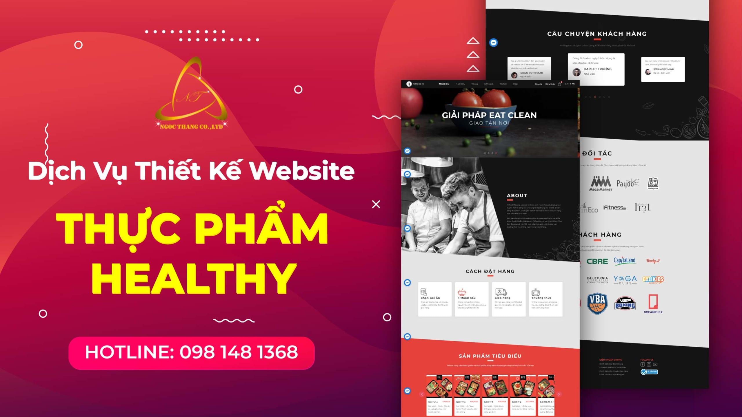 thiết kế website thực phẩm healthy